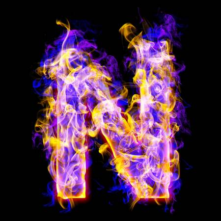 burning alphabet: letter n burning with blue and pink colors Stock Photo