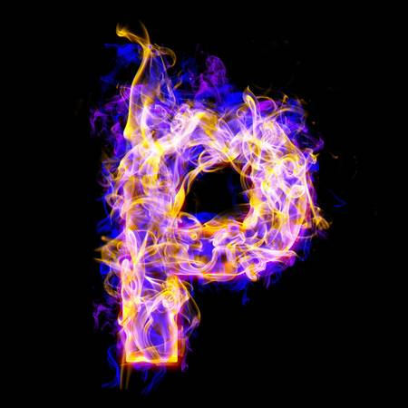 letter p burning with blue and pink colors Stock Photo - 9632376