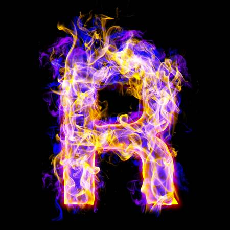 burning: letter r burning with blue and pink colors Stock Photo
