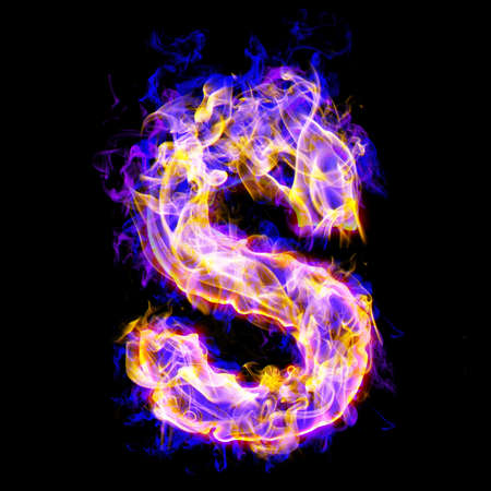 burning alphabet: letter s burning with blue and pink colors