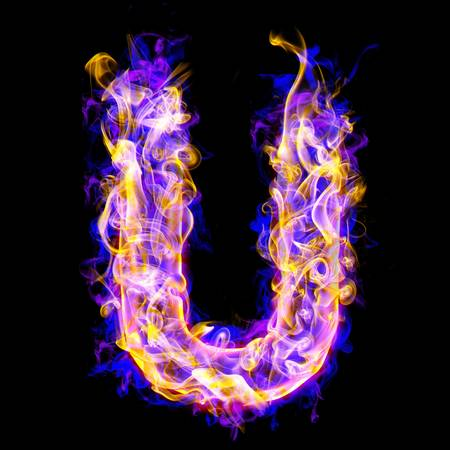 letter u burning with blue and pink colors