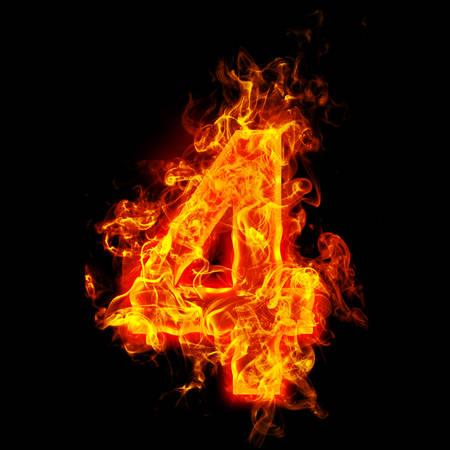 Feuer Nummer vier (4) Standard-Bild - 69566481