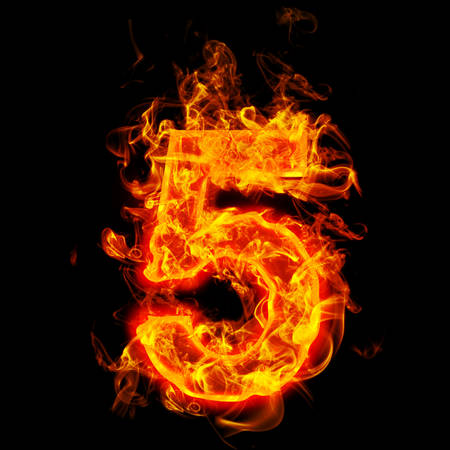 Fire number five (5) Stock Photo