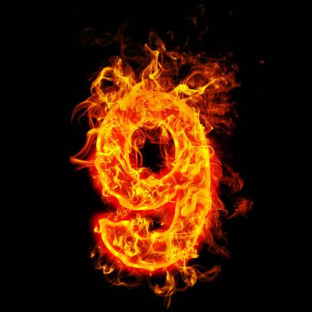 Fire number nine (9) Stok Fotoğraf