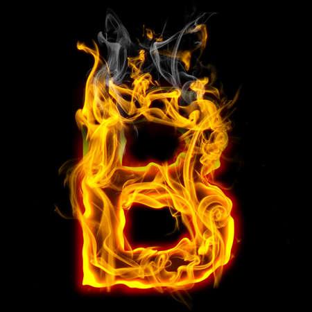 Alphabets in flame, letter B Banque d'images