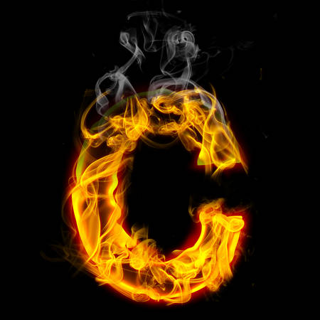 Alphabets in flame, letter C