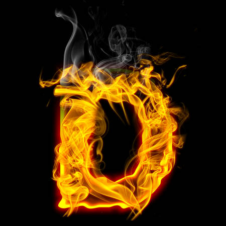 Alphabets in flame, letter D
