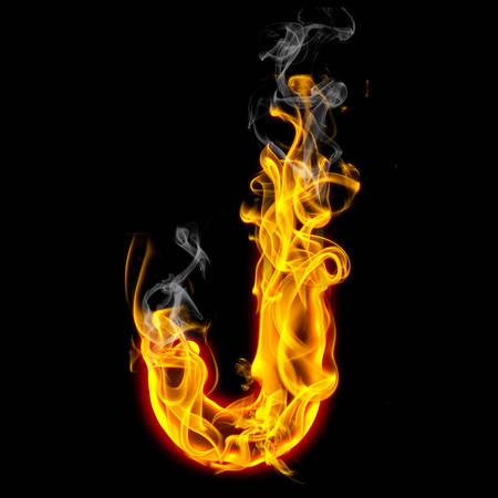 Alphabets in flame, letter J Stockfoto