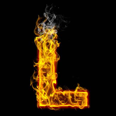 Alphabets in flame, letter L Banco de Imagens