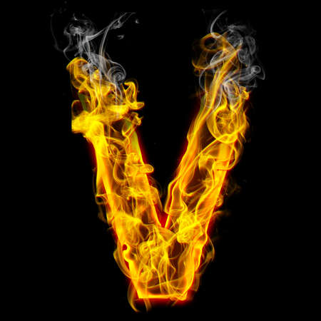 Alphabets in flame, letter V