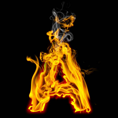 Alphabets in flame, letter A