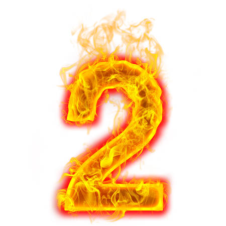 Number two on fire on white background