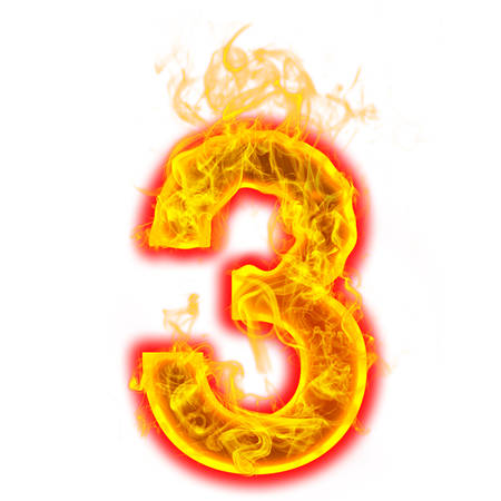 Number three on fire on white background Foto de archivo