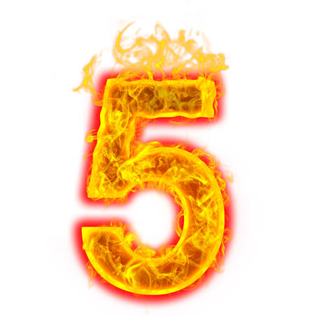 Number five on fire on white background