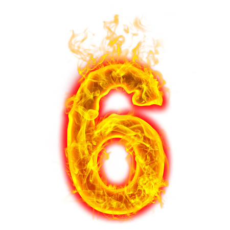 Number six on fire on white background