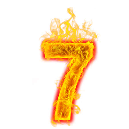 Number seven on fire on white background Banco de Imagens