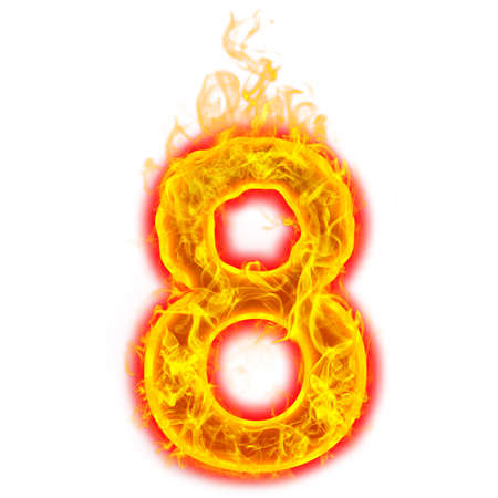 Number eight on fire on white background