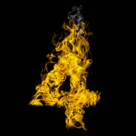 Number four on fire on black background Banco de Imagens