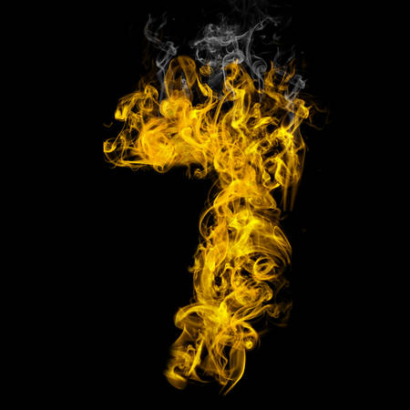 Number seven on fire on black background Banco de Imagens