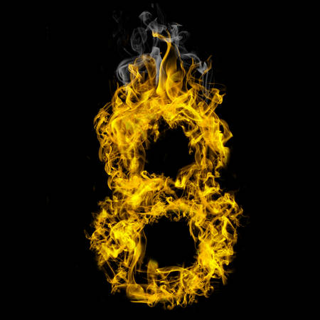 Number eight on fire on black background