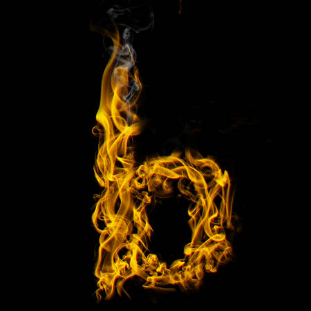 Alphabets in flame, letter b