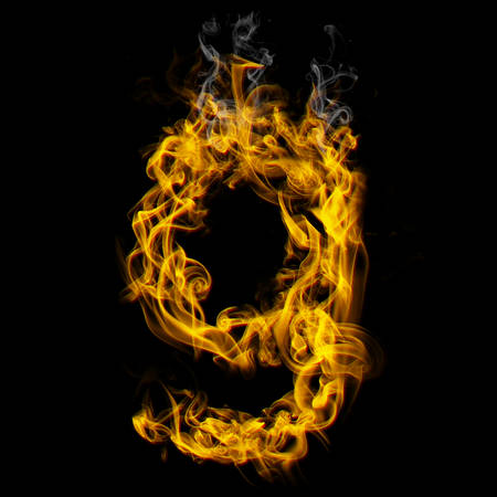 Alphabets in flame, letter g