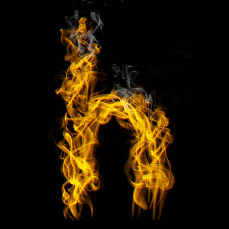 Alphabets in flame, letter h