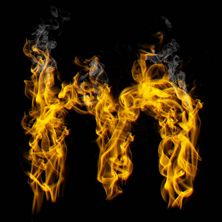 Alphabets in flame, letter m