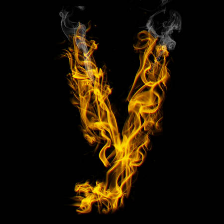 Alphabets in flame, letter y