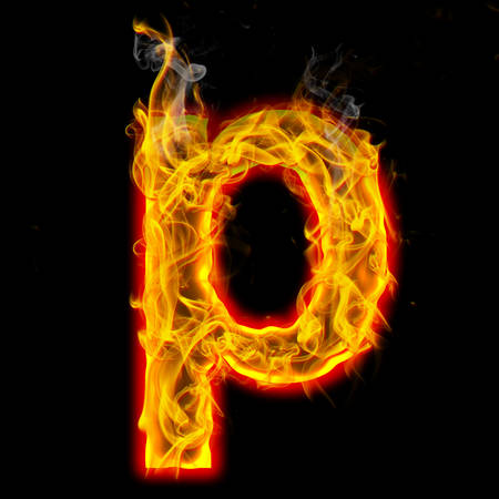 Alphabets in flame, letter p