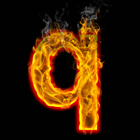 Alphabets in flame, letter q
