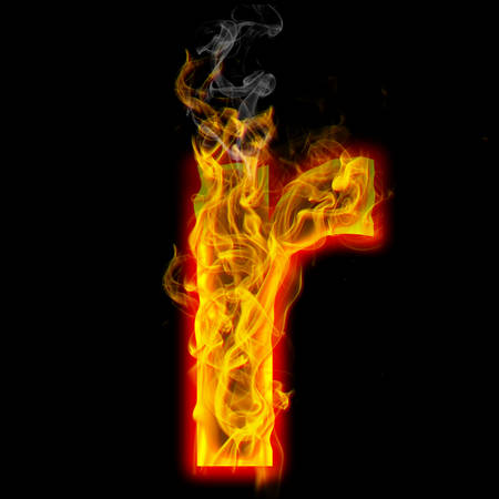 Alphabets in flame, letter r