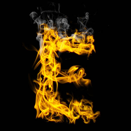 Alphabets in flame, letter E