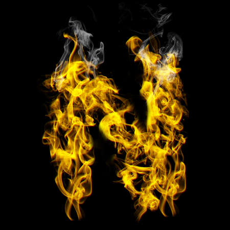 Alphabets in flame, letter N