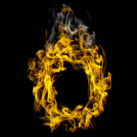 Alphabets in flame, letter O