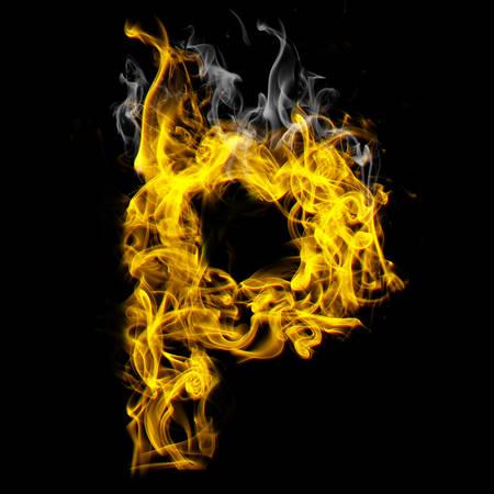 Alphabets in flame, letter P Banco de Imagens - 107735473