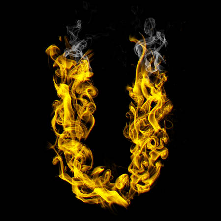 Alphabets in flame, letter U