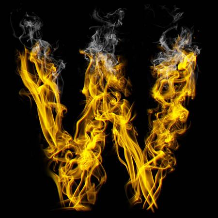 Alphabets in flame, letter W