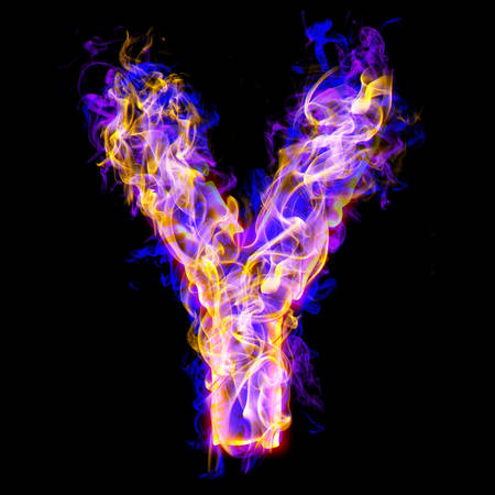 Alphabets in flame, letter Y Banco de Imagens