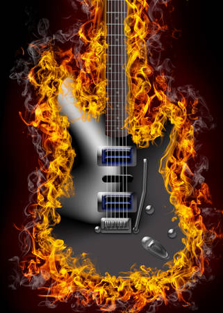 Electric guitar on fire Banco de Imagens