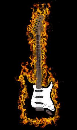 Electric guitar on fire Banco de Imagens