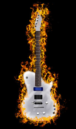 guitar white on fire