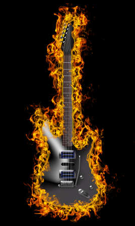 Electric guitar on fire Banco de Imagens - 107846852