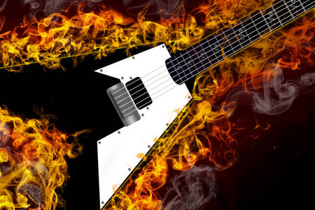 Electric guitar on fire Imagens