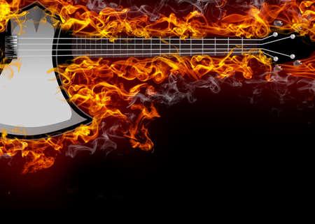 Electric guitar on fire Stok Fotoğraf