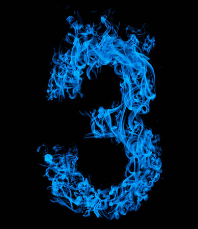 Number three blue fire
