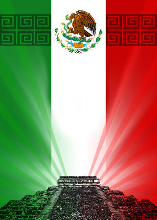 Flag of Mexico with pyramids