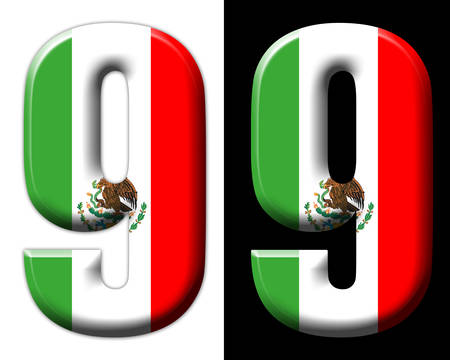 Number nine with the Mexican flag Фото со стока