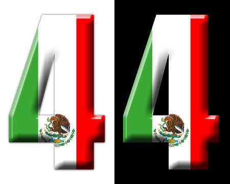 Number four with the Mexican flag Фото со стока