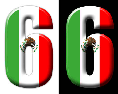 Number six with the Mexican flag Фото со стока